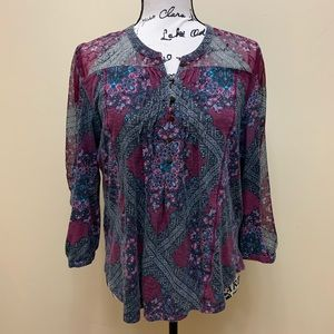Lucky Brand Oral Print Half Button Down Blouse